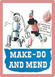 Make Do and Mend steel fridge magnet   (hb)