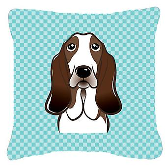 Checkerboard Blue Basset Hound Canvas Fabric Decorative Pillow BB1181PW1818