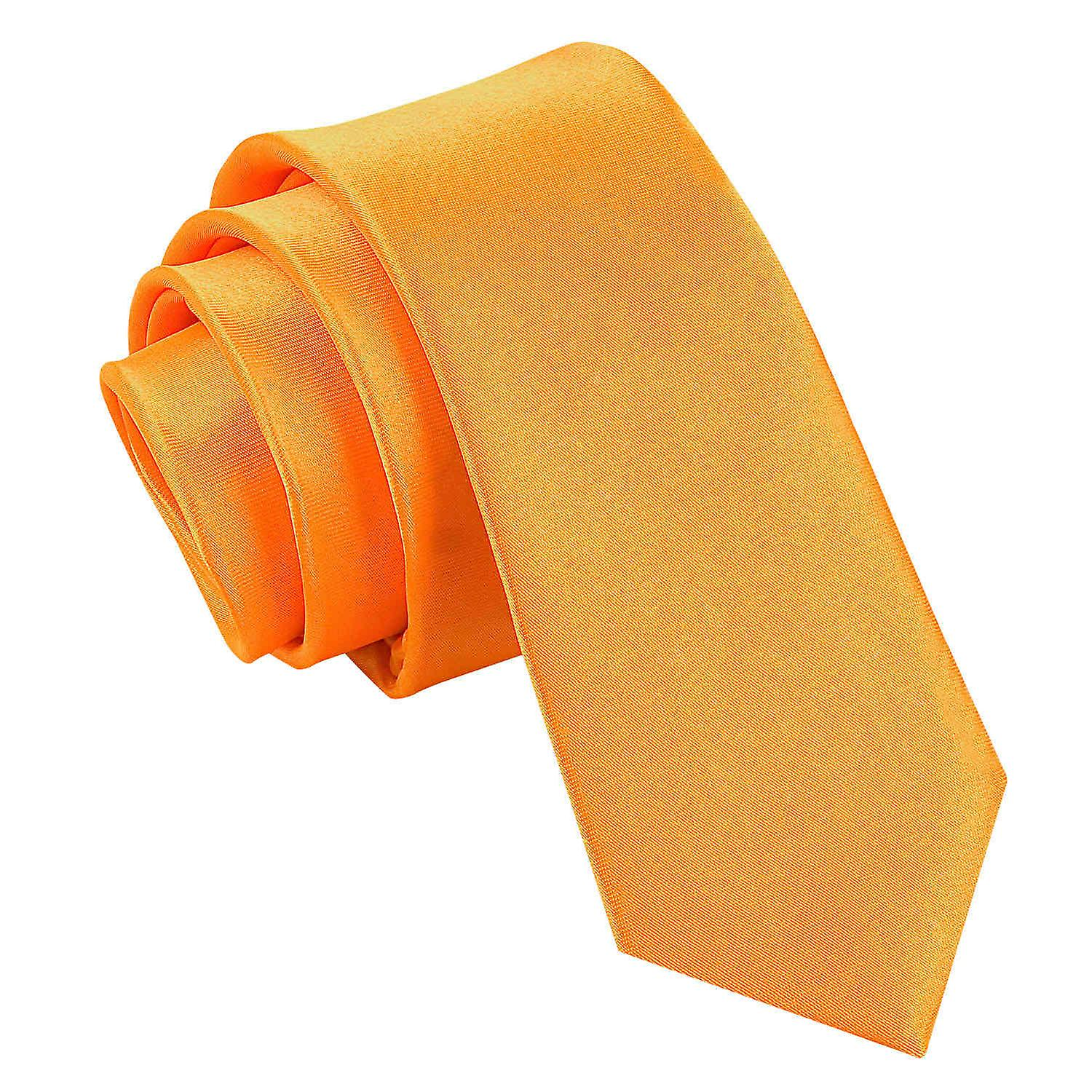 Plain Fluorescent Orange Satin Skinny Tie