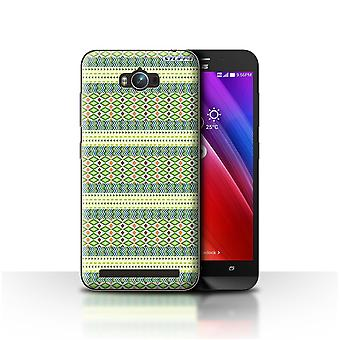 STUFF4 Case/Cover for Asus Zenfone Max ZC550KL/Green/Aztec Tribal Pattern