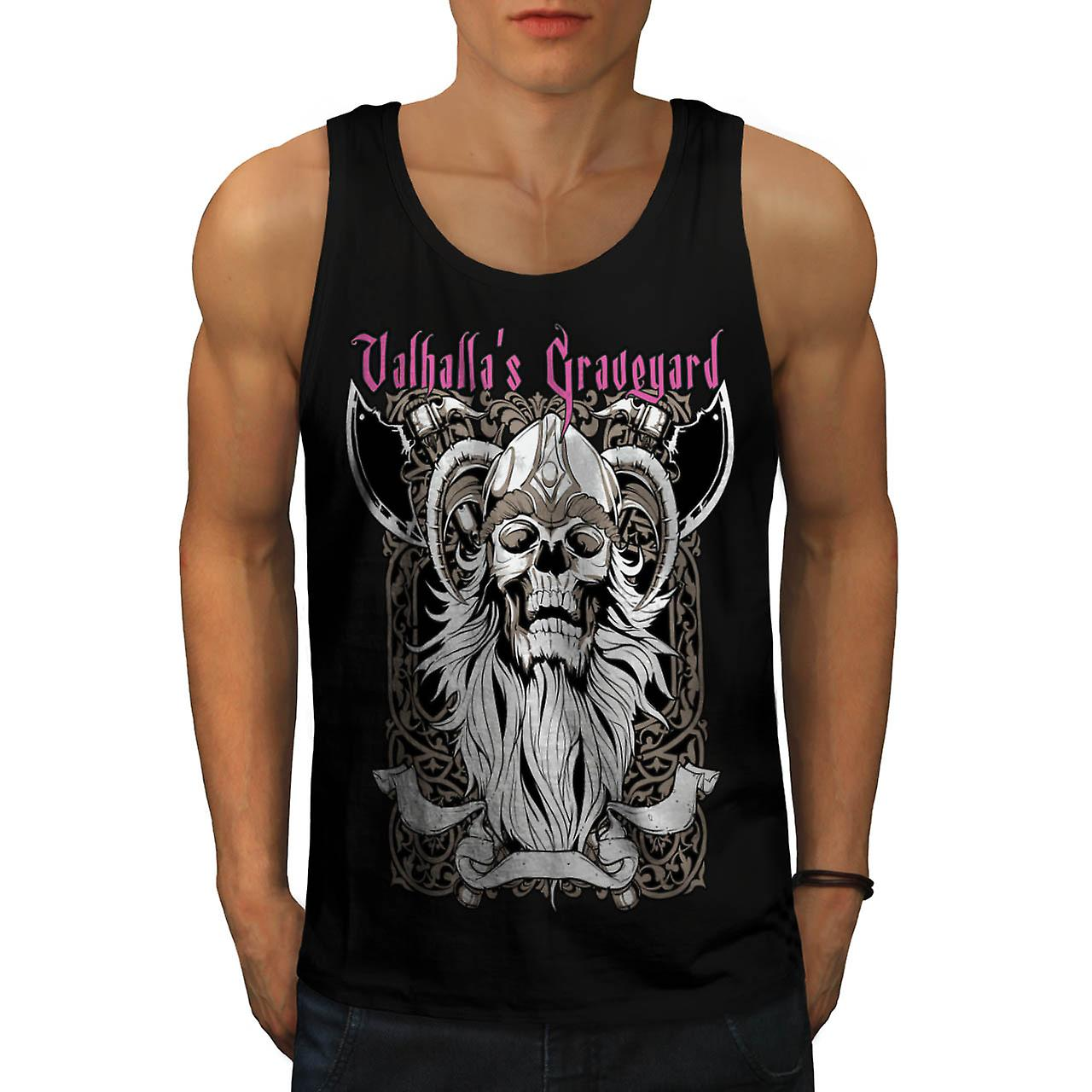Valhalla Graveyard Monster Skull Men Black Tank Top | Wellcoda