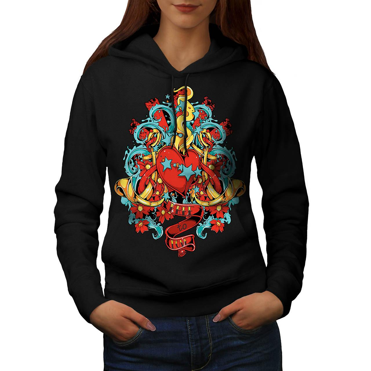 Free To Love Valentine Women Black Hoodie | Wellcoda