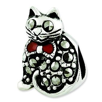 Sterling Silver Polished Antique finish Reflections Marcasite and Enameled Cat Bead Charm