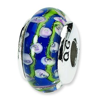 Sterling Silver Polished Antique finish Reflections Red Floral Murano Glass Bead Charm