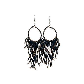 Long black boho chic statement earrings
