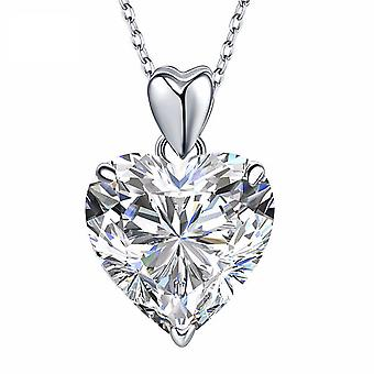 925 Sterling Silver 5 Carats Double Heart Simulated Diamond Pendant