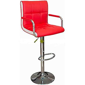 Costa Bar Stool - Red Faux Leather With Contrasting White Inset