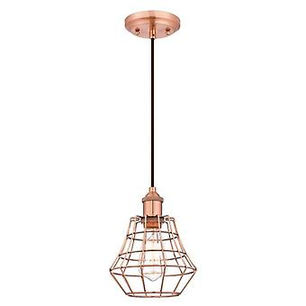 Westinghouse One-Light Pendant brushed copper with angled cage