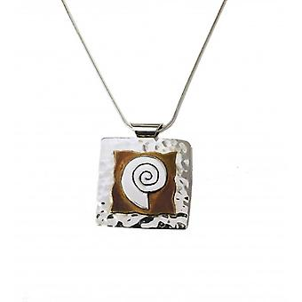 Cavendish French Silver and Golden Swirl Square Pendant with a 16-18