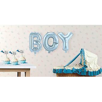 3 folie ballong satt gutt brev Garland blå 36 cm høy
