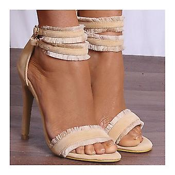 Shoe Closet Nude Ankle Heels - Ladies Nude ED75 Barely There Stilettos Peep Toes Strappy Sandals High Heels