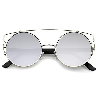 Midsize Metal Frame Horn Rimmed Crossbar Mirror Flat Lens Round Sunglasses 53mm