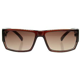 Modern Acetate Square Flat Top Wrap Sunglasses w/ Metal Detail