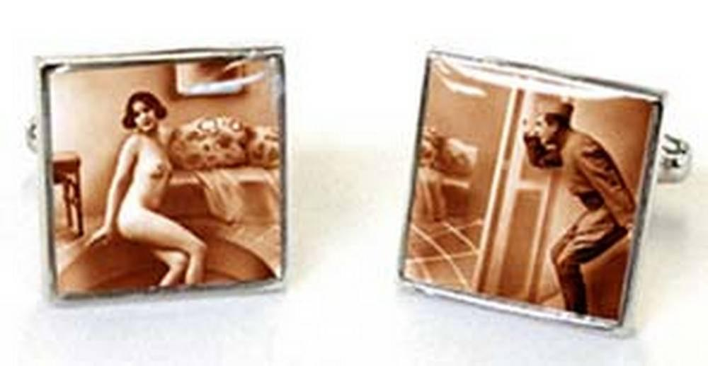 Tyler and Tyler Cheeky Boy Victorian Tease Cufflinks - Brown