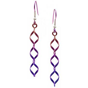 Ti2 Titanium Wirework Diamond Triple Drop Earrings - Pink