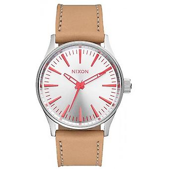 Nixon The Sentry 38 Leather Watch - Silver/Bright Coral/Natural