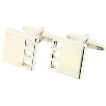 David Van Hagen Crystal Square Cufflinks - Silver