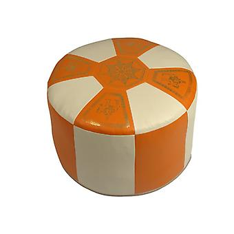 Seat cushion Pouffe Oriental pillow around faux leather terra/champagne, B 50 cm, H 34 cm