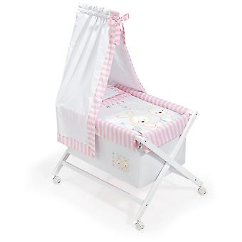 Interbaby Nogal minicuna canopied Model Rabbit Baby Rosa