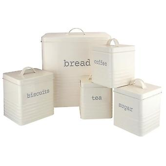 KITCHEN STORAGE RECTANGULAR CREAM SET OF 5 PIECE