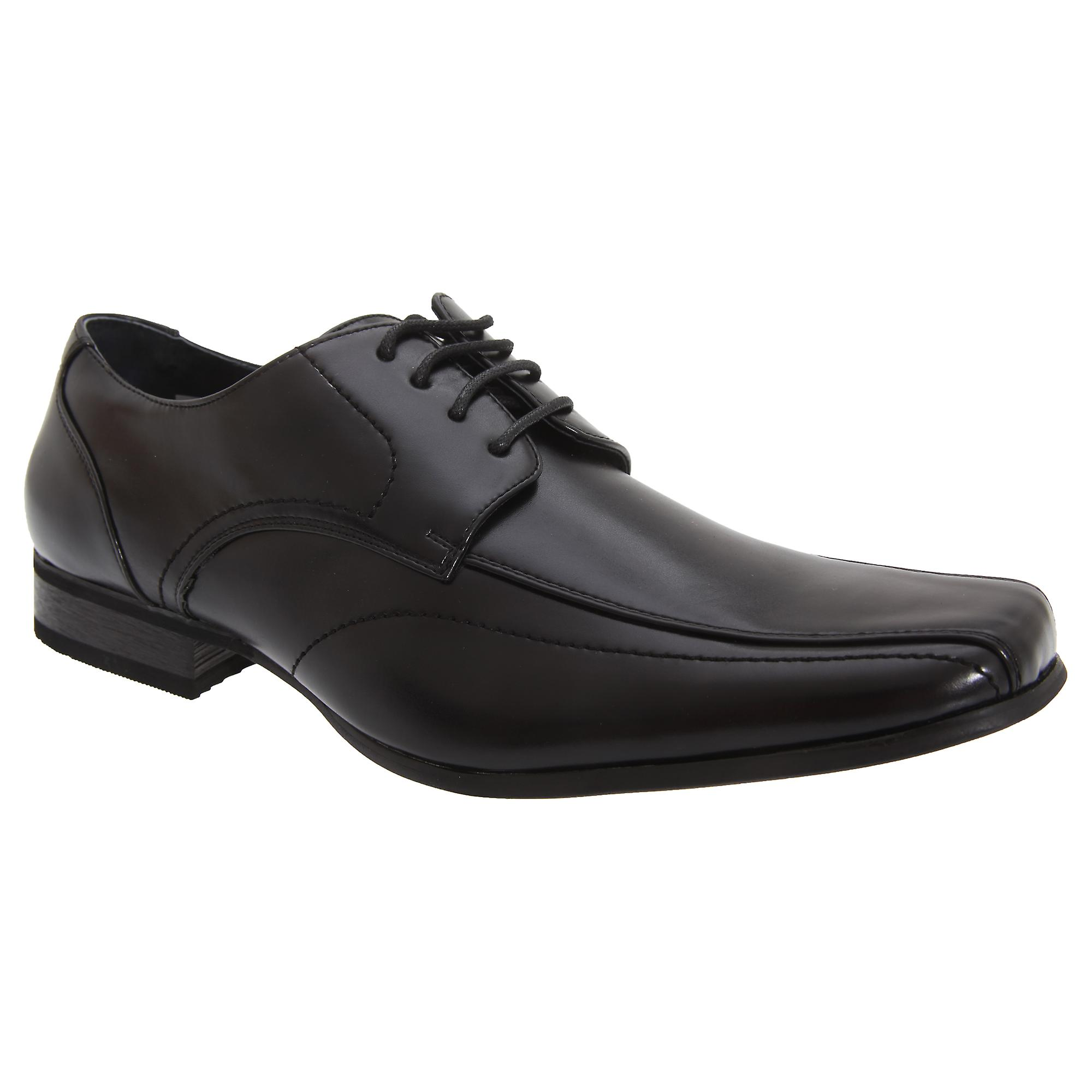 Goor Mens Leather Lace-Up Tramline Gibson Dress Shoes