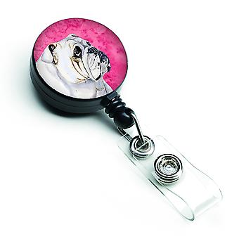 Carolines Treasures  LH9364PKBR Pink Bulldog English Retractable Badge Reel