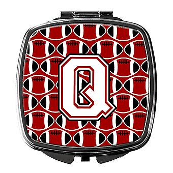 Letter Q Football Cardinal and White Compact Mirror