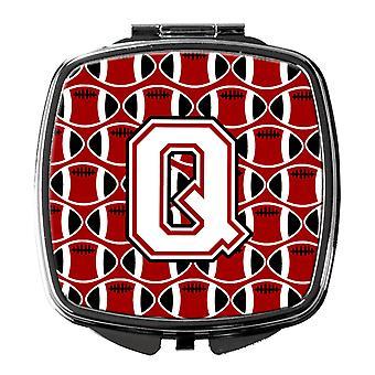 Brevet Q fotball kardinal og hvit kompakt speil
