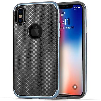 iPhone X Перекрестные штрихи сетки гель Case - синий