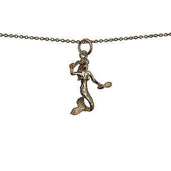 9ct Gold 21x14mm Mermaid Pendant with a cable Chain 16 inches Only Suitable for Children