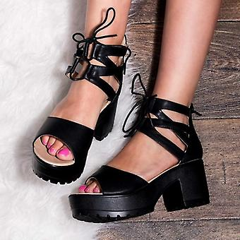 Spylovebuy RAVE Lace Up Cleated Sole Block Heel Sandals Shoes - Black Leather Style