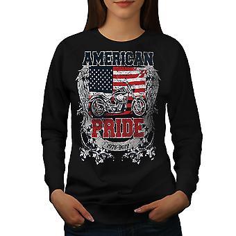 American Pride Biker Women BlackSweatshirt | Wellcoda