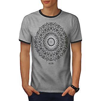 Drawing Indian Style Men Heather Grey / Heather Dark GreyRinger T-shirt | Wellcoda
