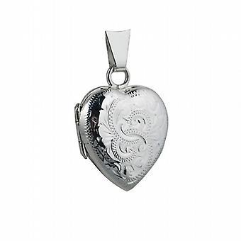 Srebrny 17x16mm ręcznie grawerowane medalion w kształcie serca