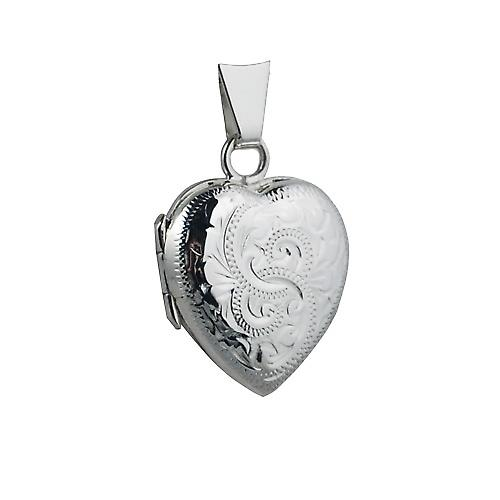Silver 17x16mm hand engraved heart shaped Locket