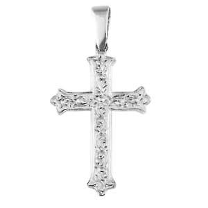 Silver 30x22mm fancy embossed pattern Cross