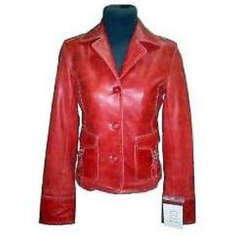 Womens Cosmo Red Leather Blazer