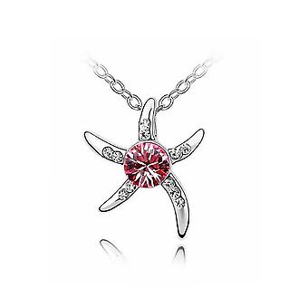 Womens Silver Starfish Necklace Pink Crystal Stone