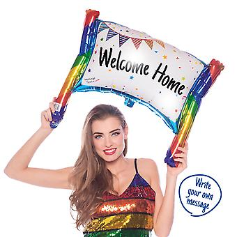 Banner sign even label foil balloon with eigenre message about 73 x 56 cm