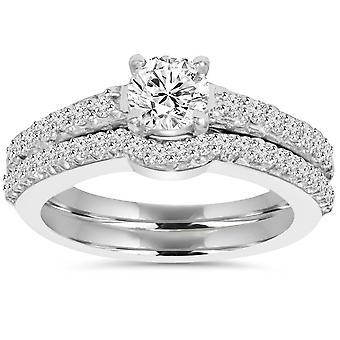 1ct Pave diamant engagemang bröllop matchande Ring inställd 14K vit guld runda skär