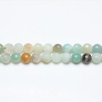 Strang 62 + multicolor Amazonite 6mm facettiert Runde Perlen GS8123-1