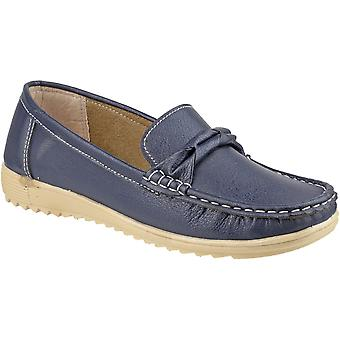 Amblers Ladies Paros Slip On Moccasin Style Smart Casual Shoe Navy