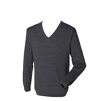 Henbury Mens 12 Gauge Long Sleeve Formal Casual V-neck Jumper