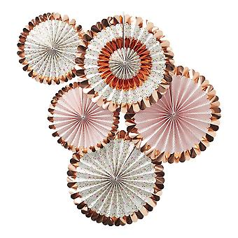 Rose Gold Floral Paper Fan Decorations Ditsy Floral Pack of 5