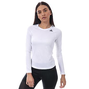 Womens adidas lange mouw-t-shirt D2m In Wit