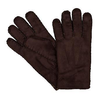 Guanti guanti Bugatti uomo falso pelliccia di agnello marrone 6461