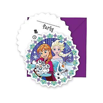 Uitnodiging uitnodigingen uitnodiging kaart bevroren sneeuwvlokken kids party verjaardag 6 stuks
