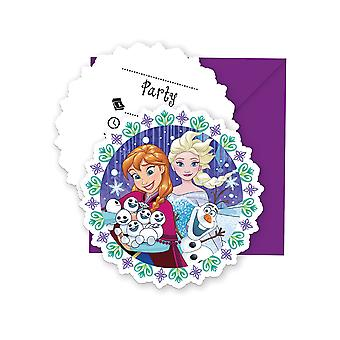 Invitation invitations invitation card frozen snowflakes kids party birthday 6 pieces