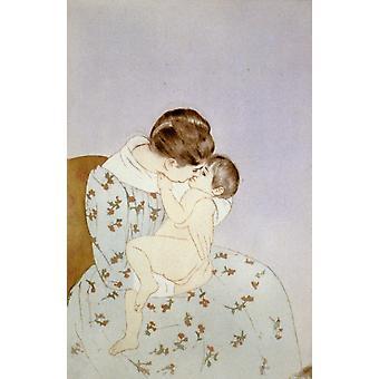 Mothers Kiss 1891 Poster Print by  Mary Cassatt