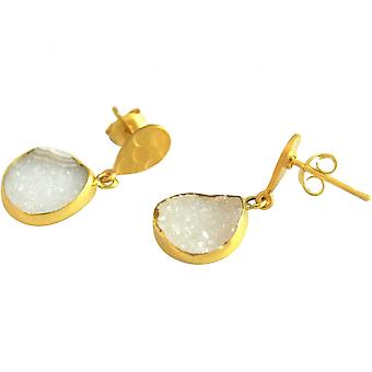 Damen - Ohrringe - 925 Sterling Silber - Vergoldet - DRUZY - Quarz - Weiß - 3 cm
